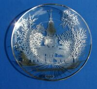 """VTG STERLING Silver OVERLAY Crystal PLATE Independence Hall COLLECTOR PLATE 10"""""""