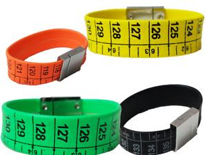 Bracelet Tape measure Designer Style Black Tone Faux Leather Magnetic Clasp