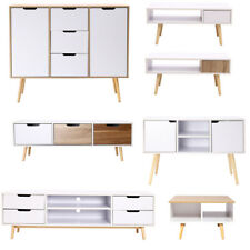 Elevated Wood Sideboard Cupboard End Coffee Table TV Cabinet with Doors Drawers