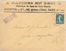 FRANCE TRADE COVER PARIS LOCAL INDISTINCT CANCEL;c1907 SG 331.