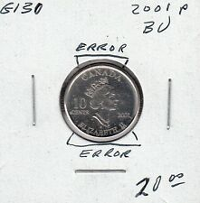 G130 CANADA 10c - 10 CENTS COIN 2001p BRILLIANT UNCIRCULATED - ERRORS