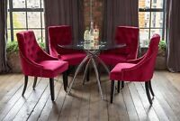 Cecelia Luxury Glass Dining Table Set with 4 Knocker Red Scoop Chairs Round