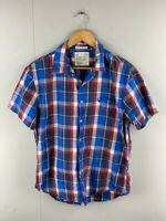 American Eagle Outfitters Mens Blue Plaid Short Sleeves Button Up Shirt Size L