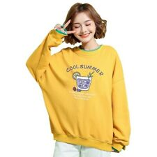 Autumn Student Women Floral Crew Neck Baggy Sweatshirts Pull Over Leisure Tops B