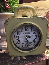Rustic/Farmhouse-Double Sided Sq Metal Clock-Green/Distressed-Box-FREE SHIPPING!