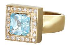 Designerring Gold 585 mit Brillanten und Blautopas - Goldring Brillantring Ring