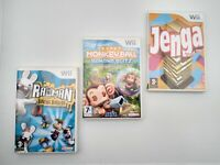 Jenga, Rayman & Super Monkey Ball | 3 x Family Kids Games Wii /Wii U Game Bundle