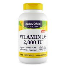 Healthy Origins - Vitamin D3 2,000IU x 360 Softgels, D-3 2000iu