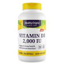 La vitamina D-3, 2000iu x 360 Capsule-Healthy Origins