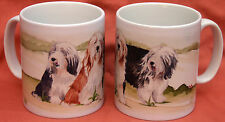 BEARDED COLLIE DOG MUG OFF TO THE DOG SHOW WATERCOLOUR PRINT SANDRA COEN ARTIST
