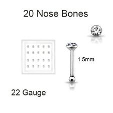 Lot 20 Sterling Silver Round Nose Bone Ring 1.5mm Clear No Prongs 22 Gauge 22G