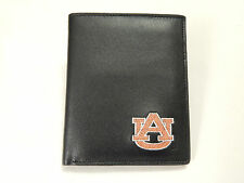 Auburn Tigers Mens Black and Blue Leather Bi-fold Wallet