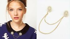 R1293 Gold Metal Rhinestone Snowflake Beads Collar Pins Necklace