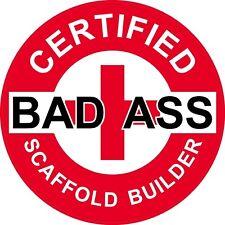"3 – Red Certified Bad Ass Scaffold Builder 2"" Hard Hat / Helmet Stickers H737"