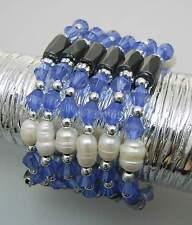 NEU 90cm MAGNETKETTE blau-creme SÜßWASSER ZUCHTPERLEN Süßwasserperlen HALSKETTE