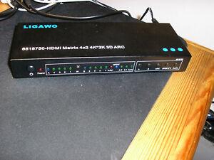 LIGAWO HDMI Matrix 4x2 4K 3D ARC Switch