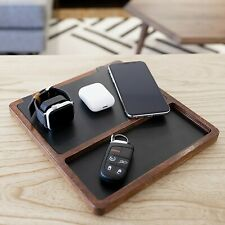 NYTSTND TRIO TRAY Wooden Handcrafted 5-Coil Wireless Charger, Black Top