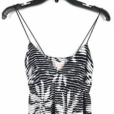 Love...ady Size Medium Maxi Dress Striped Floral Stretch Black White NWT $128
