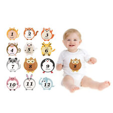 Lovely Animal Baby 1-12 Monthly Milestone Sticker Baby Shower Photo Props w/