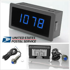 4 Digital Blue LED RPM Tachometer+NPN Hall Proximity Switch Sensor 3 Wires -USA