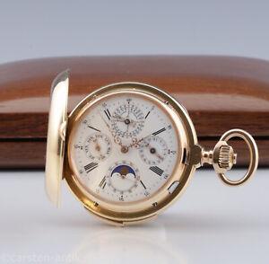 LeCoultre Geneve Grand Complication 18k Taschenuhr Ewiger Kalender Min. Rep.1905
