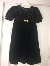 Therèse Girls Holiday Dress Black Velvet Good Embroidered Leaves Sz 5