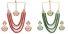 Jwellmart Indian Ethnic Bridal Multiline Beads Kundan Women Necklace Jewelry Set
