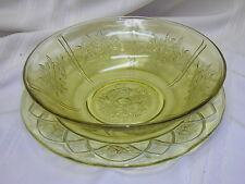 Vintage Yellow Depression Glass Plate and Serving Bowl Rose Pattern