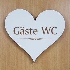 Dekoschild Holz Schild Herz GÄSTE WC Türschild Besucher Toilette Hinweisschild ✔