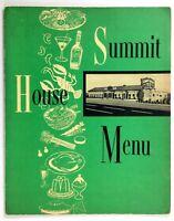 1960's Vintage Menu THE SUMMIT HOUSE Restaurant Branford Hills Connecticut