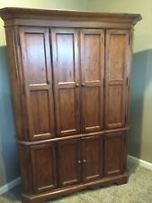 Corner TV Stand Flat Screen Entertainment Wood Oak Center Console Media Cabinet