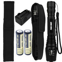 Tactical LED 5000lm XM-L T6 Flashlight Zoomable Torch Lamp+18650 Battery+Charger