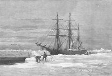 ARCTIC. Exploration. Eira, Leigh Smith's yacht, antique print, 1882