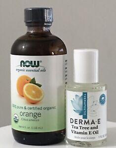 Now Foods Organic Essential Oils Orange (4 oz) & Derma E & Tea Tree Oil (1oz)
