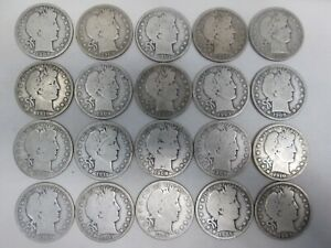 LOT OF 20 US SILVER BARBER QUARTERS - 1900'S
