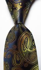 New Classic Paisley Gold Black Dark Blue JACQUARD WOVEN Silk Men's Tie Necktie