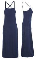New Womens Long Denim Dress Sleeveless Longline Maxi Dresses Indigo Size 8 10 12