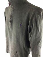 POLO by RALPH LAUREN Zip Up V-Neck Pullover Green Cotton Sweatshirt Men's Size L