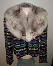 VINTAGE TAIT MATE SILK BEADED SEQUIN CROPPED SILVER FOX FUR JACKET 8 M HOLIDAY