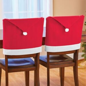Set of 2 Festive Santa Claus Hat Design Holiday Christmas Chair Back Covers