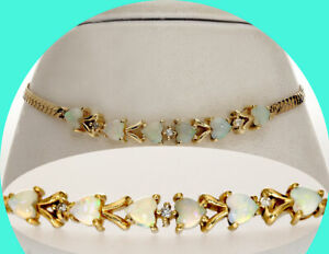 1.53CT diamond opal heart bracelet 14K YG herringbone birthstone