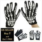 Skull Bone Skeleton Goth Glove Full Finger Gloves Halloween Horror