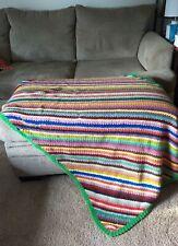 Vintage Stripe Afghan Multicolor Rainbow Knit Crochet Handmade Boho Bohemian