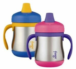 NEW THERMOS FOOGO 200ml STAINLESS STEEL SIPPY CUP SS Handles Insulated BLUE PINK