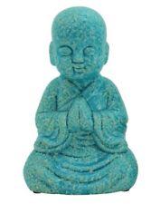 Blue Mottled Glazed Ceramic Buddha Monk Statue Ornament Figurine