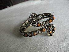 "2 1/8 W x 2 3/8"" A Collectible Clamp Bracelet Gold Tone Filigree Amber Rhineston"