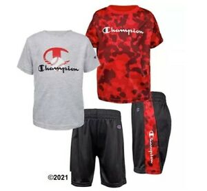 Champion Boys Toddler 3-Piece Red Camo/Black/Gray Set Size 3T