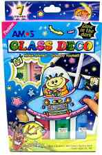 Amos Peelable Glow In The Dark Glass Paint Art Set Luminous Colours & Outliner