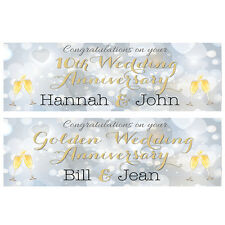 2 PERSONALISEDWEDDING ANNIVERSARY BANNERS - ANY ANNIVERSARY - OR YEAR