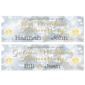 2 PERSONALISED WEDDING ANNIVERSARY BANNERS - ANY ANNIVERSARY - OR YEAR